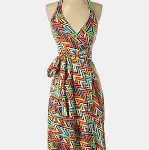 Gap Halter wrap dress in zigzag print